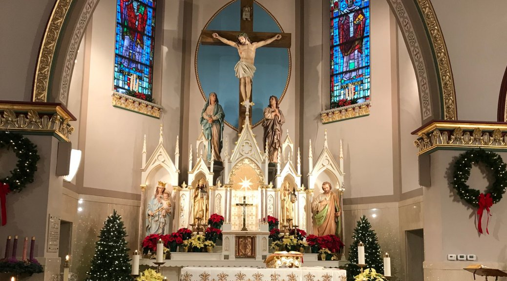 Incarnation of Our Lord Church altar at Christmas.