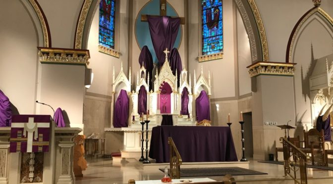 The altar at Incarnation of Our Lord Church, set for Lent.